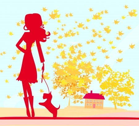 Girl walking with her dog in autumn landscape. Stock Vector - 15432917