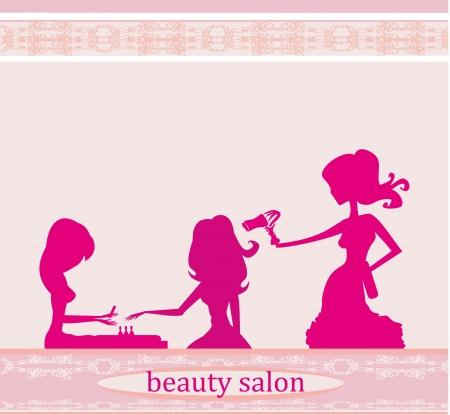 Vector illustration of the beautiful woman in beauty salon  Illustration