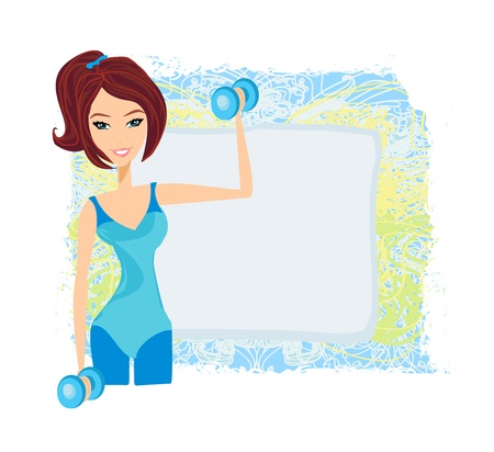 mujer ejercitandose: encajar mujer morena ejercicio con dos pesas con mancuernas en las manos Vectores