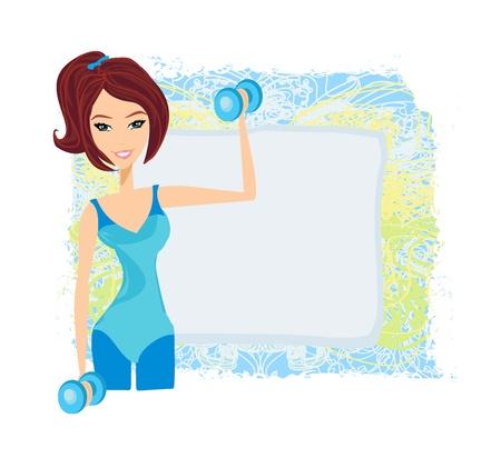 encajar mujer morena ejercicio con dos pesas con mancuernas en las manos