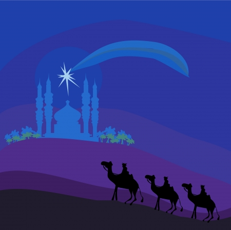 Classic three magic scene and shining star of Bethlehem, vector illustration  Stock Vector - 15541326