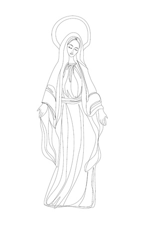 solemn:  Blessed Virgin Mary in black and white contour drawing  Illustration