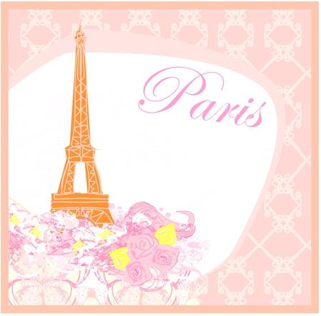 parisian:  vintage retro Eiffel card  Illustration