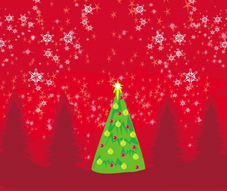 Abstract christmas tree card  Stock Vector - 15558741
