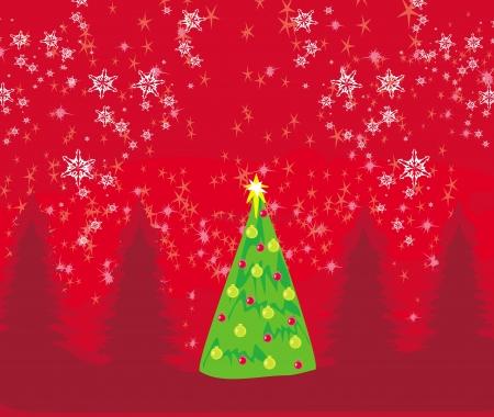 Abstract christmas tree card Stock Vector - 15558741