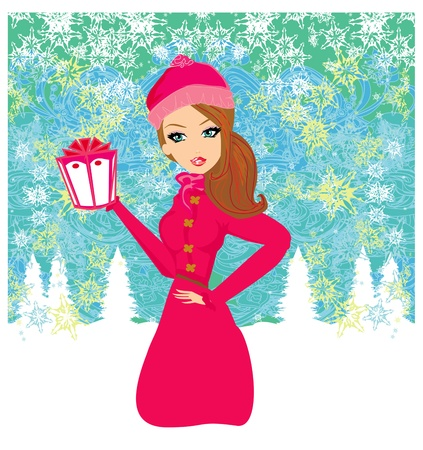 woman make up: fashion shopping girl with  gift box  Illustration