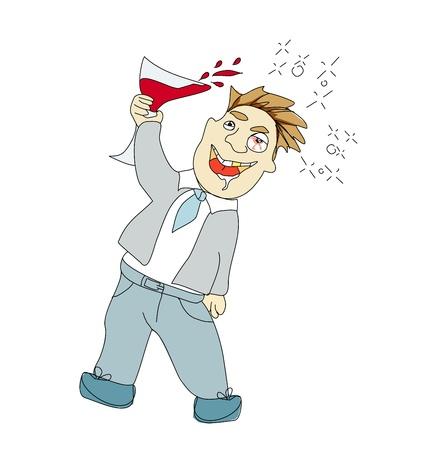 alcoholic man:  Drunk Man  Illustration
