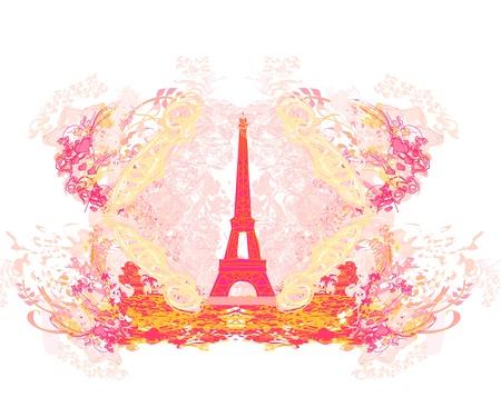 flower clip art:  vintage retro Eiffel card  Illustration