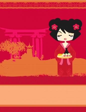 beautiful Asian girl enjoy sushi - menu template  Illustration
