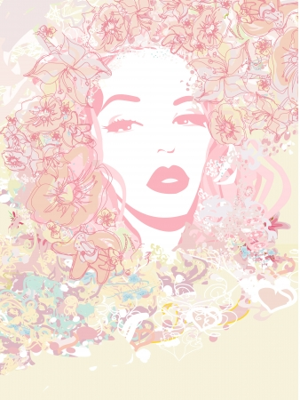 Abstract Beautiful Woman poster  Illustration