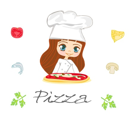 beautiful girl serving pizza  Vector