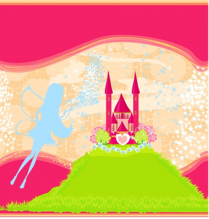 fairy flying above castle Stock Vector - 15623535