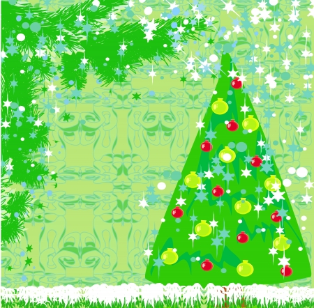 Abstract christmas tree card Stock Vector - 15685094