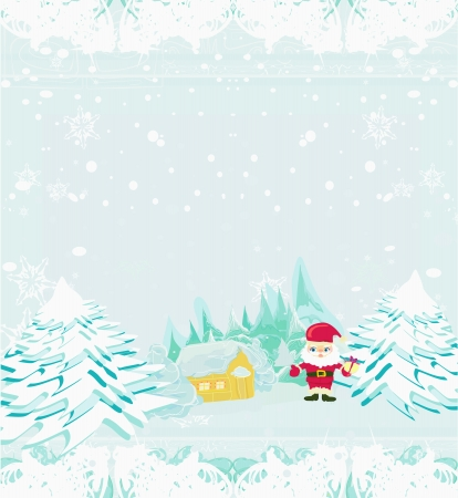 Happy New year card with Santa and winter landscape  Stock Vector - 15712716