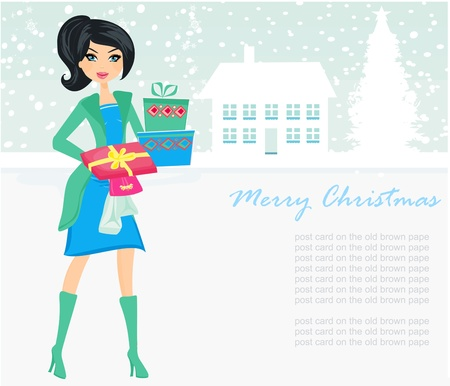 fashion shopping girl with shopping bags and gift box  Vector