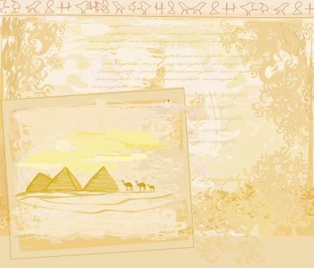 old paper with pyramids giza  Stock Vector - 15756625