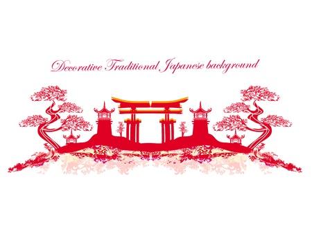 抽象的なアジア風景  イラスト・ベクター素材