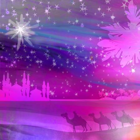 Classic three magic scene and shining star of Bethlehem Stock Photo - 15802352