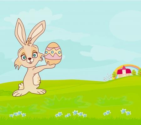 kiddish:  Illustration of happy Easter bunny carrying egg