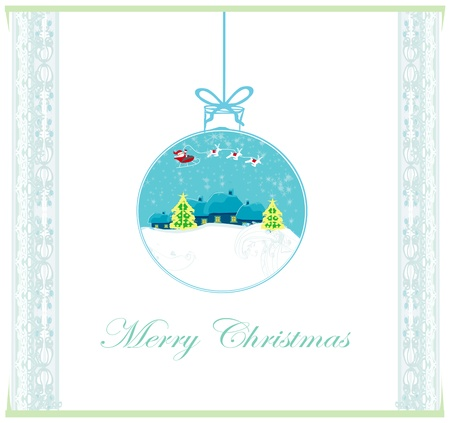 Happy New year card with Santa and winter landscape Stock Vector - 15802347