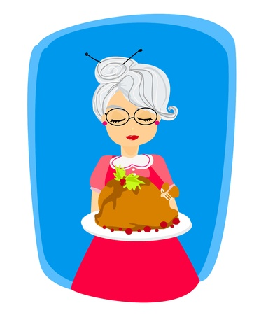 old kitchen: grandma with a delicious roasted and big turkey