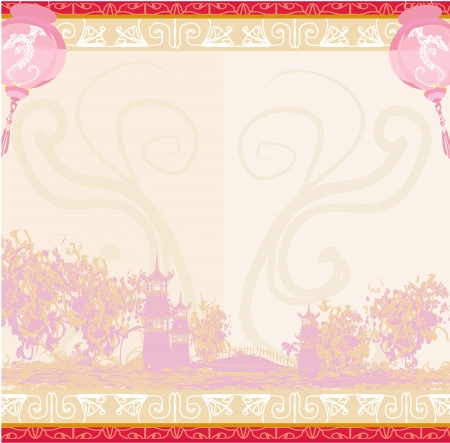Asian Landscape and Chinese Lanterns Stock Vector - 15802457