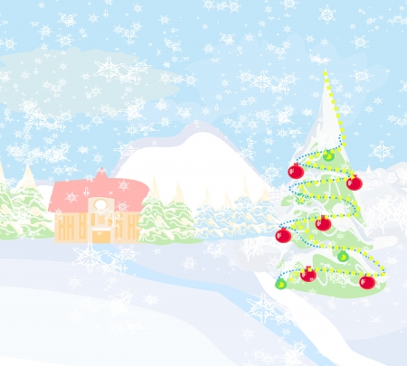 winter landscape vector  Vector