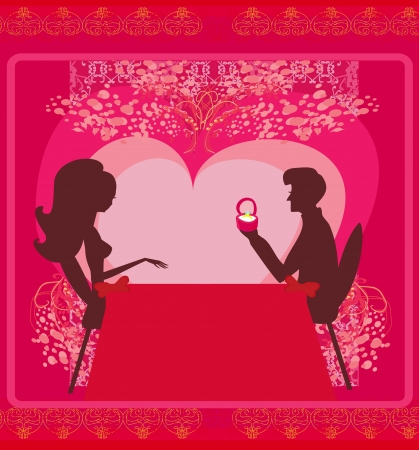 man proposing with an engagement ring to his love in a restaurant  Stock Vector - 15864960