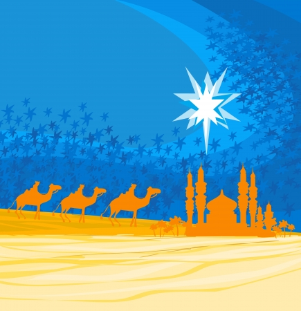 bible story:  Classic three magic scene and shining star of Bethlehem, vector illustration