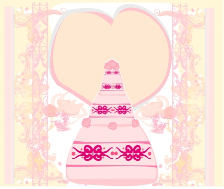 wedding cake card design Stock Vector - 15914485