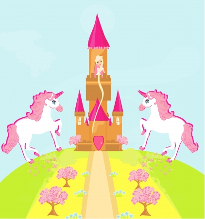 Illustration of princess  in tower waiting for Prince Stock Vector - 15914499