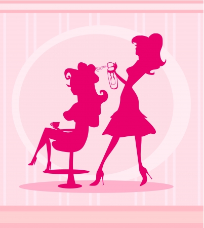 Vector illustration of the beautiful woman in hairdressing salon  Vector