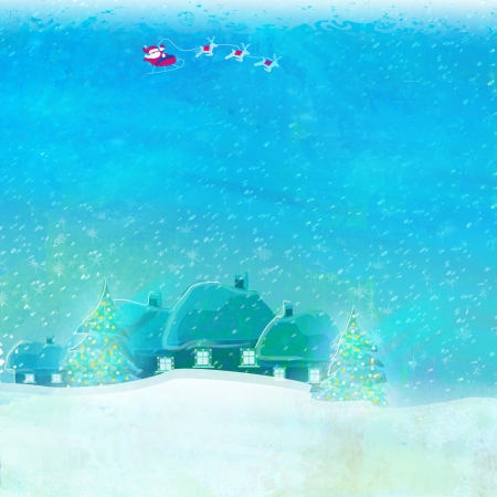 Happy New year card with Santa and winter landscape  photo