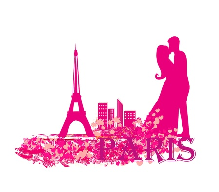 Romantic couple in Paris kissing near the Eiffel Tower  Stock Vector - 15975208