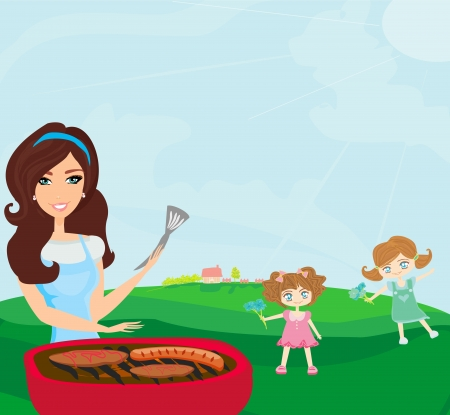 bbq picnic:  A vector illustration of a family having a picnic in a park  Illustration