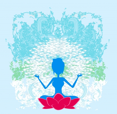 Yoga girl in lotus position  Stock Vector - 15975211