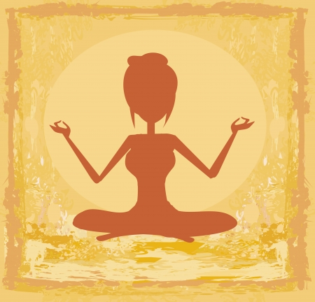 Silhouette of a Girl in Yoga pose - grunge background Vector