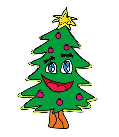 lowbrow: albero di natale personaggio dei cartoni animati Vettoriali