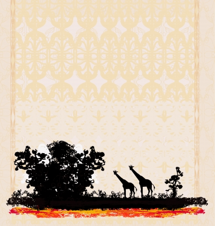 acacia tree:  grunge background with African fauna and flora