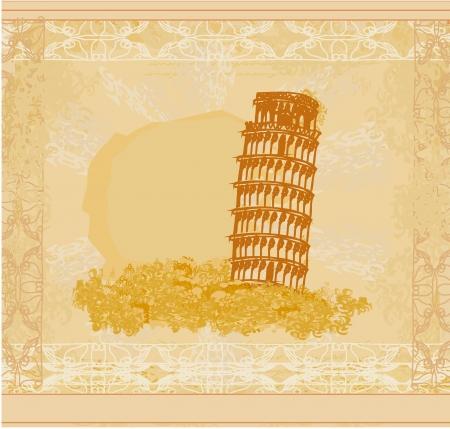 alphabetic: vintage vector pisa tower  background