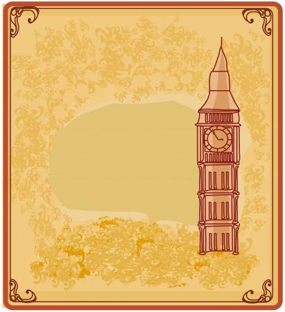 postcard back:  Grunge banner with London