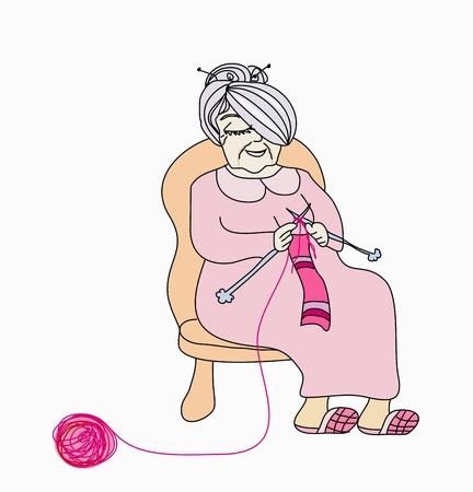 animated women: Old woman knitting Illustration