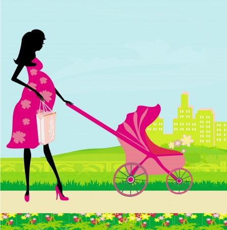 one parent:  beautiful pregnant woman pushing a stroller  Illustration