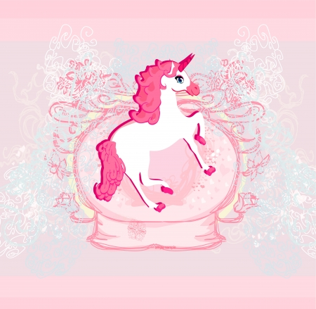 Vector Illustration of beautiful pink Unicorn   Vector