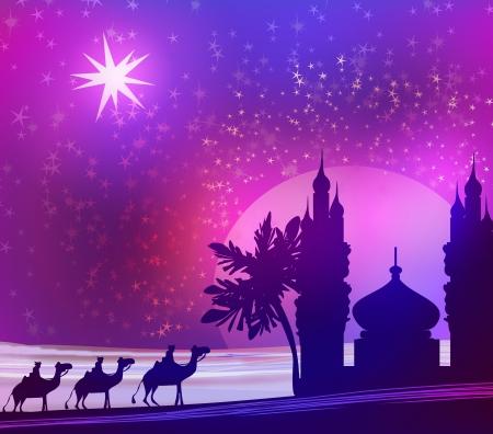 three palm trees:  Classic three magic scene and shining star of Bethlehem  Stock Photo