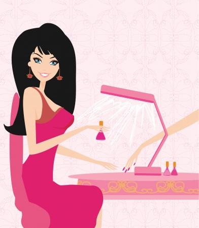 salon de belleza: se�ora haciendo la manicura en un sal�n de belleza