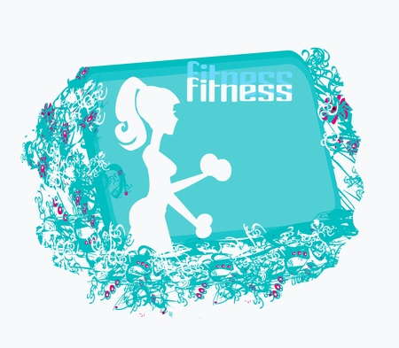 fit woman exercising with two dumbbell weights on her hands  Vector