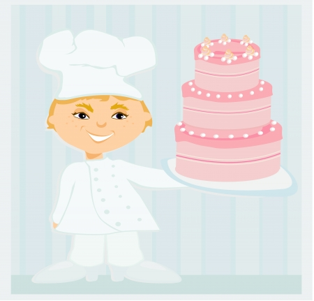 confectioner: sweet chef with cake