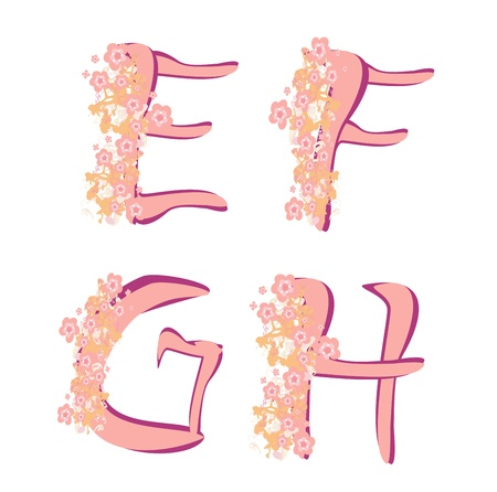 Vector spring alphabet with  flowers letters E,F,G,H, Vector