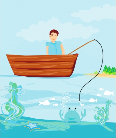 Fisherman catching the fish  Stock Vector - 16138890